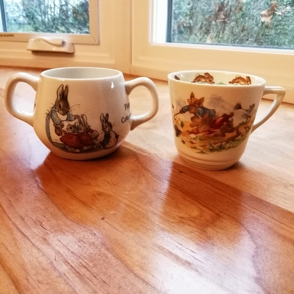 Vintage Bone China Peter Rabbit Cups, Set of Two